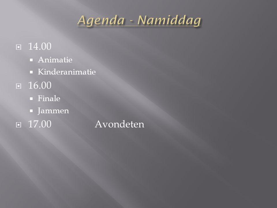  14.00  Animatie  Kinderanimatie  16.00  Finale  Jammen  17.00Avondeten