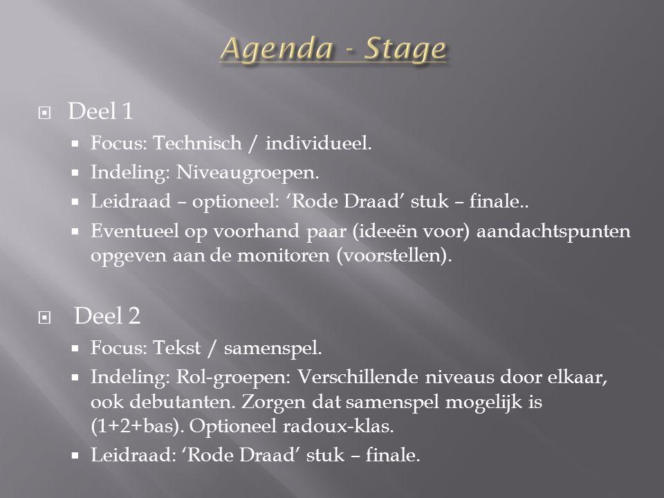  Deel 1  Focus: Technisch / individueel.  Indeling: Niveaugroepen.  Leidraad – optioneel: 'Rode Draad' stuk – finale..  Eventueel op voorhand paa