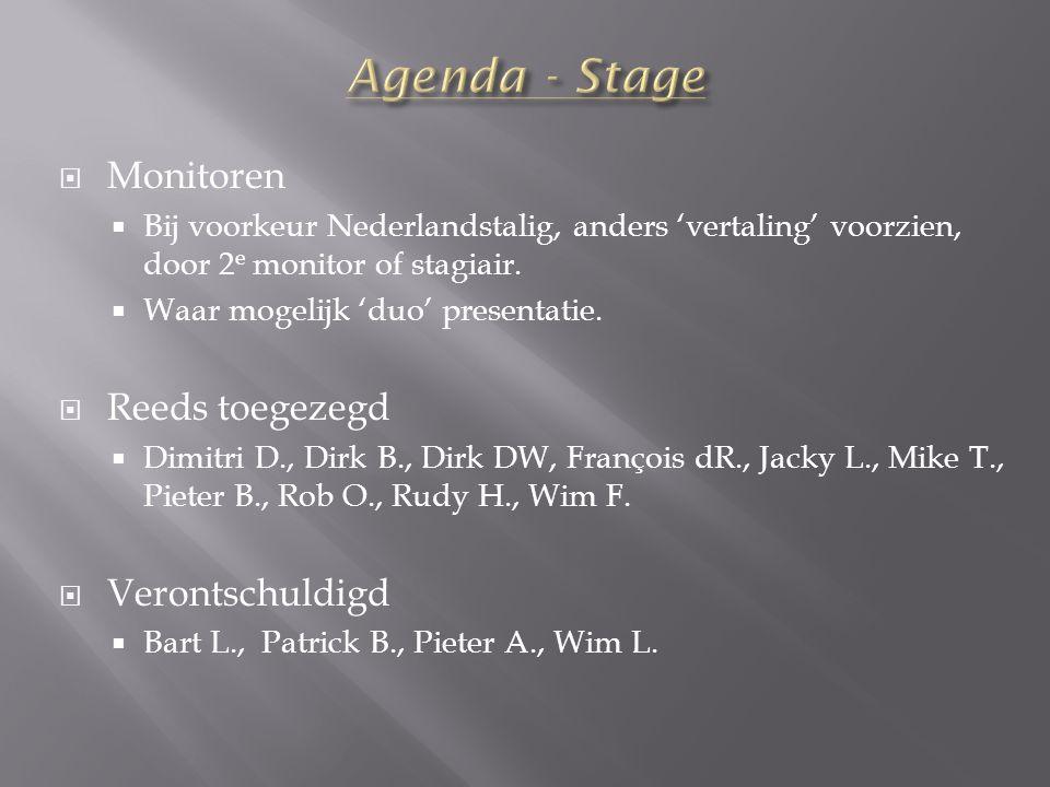  Monitoren  Bij voorkeur Nederlandstalig, anders 'vertaling' voorzien, door 2 e monitor of stagiair.  Waar mogelijk 'duo' presentatie.  Reeds toeg