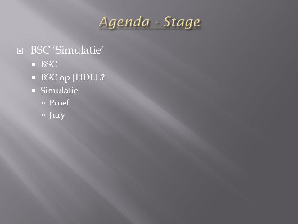  BSC 'Simulatie'  BSC  BSC op JHDLL?  Simulatie  Proef  Jury