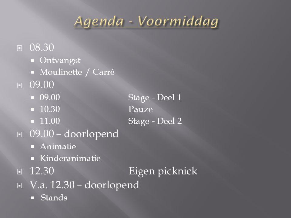  08.30  Ontvangst  Moulinette / Carré  09.00  09.00Stage - Deel 1  10.30Pauze  11.00Stage - Deel 2  09.00 – doorlopend  Animatie  Kinderanimatie  12.30Eigen picknick  V.a.
