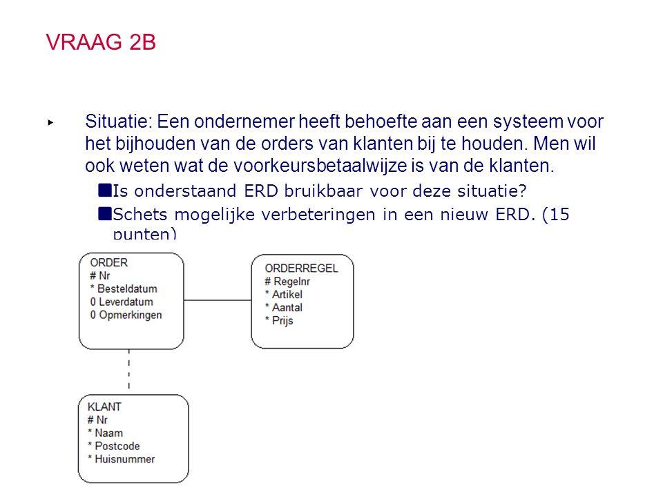 VRAAG 2B ▸ Situatie: Een ondernemer heeft behoefte aan een systeem voor het bijhouden van de orders van klanten bij te houden.