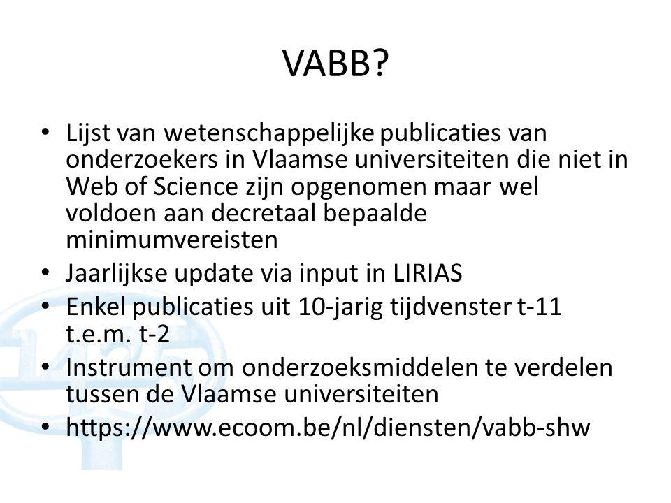 Weging VABB-SHW in BOF-sleutel weging Artikelen1 Boeken als auteur4 Boeken als editor1 Hoofdstukken in boeken1 Proceeding bijdragen0,50 Criteria voor aanvaarding 1.Publiek toegankelijk 2.Ondubbelzinnig identificeerbaar (ISSN / ISBN) 3.Bijdrage aan nieuwe inzichten en de toepassing ervan 4.Aantoonbare peer review voor publicatie 5.> 4 bladzijden