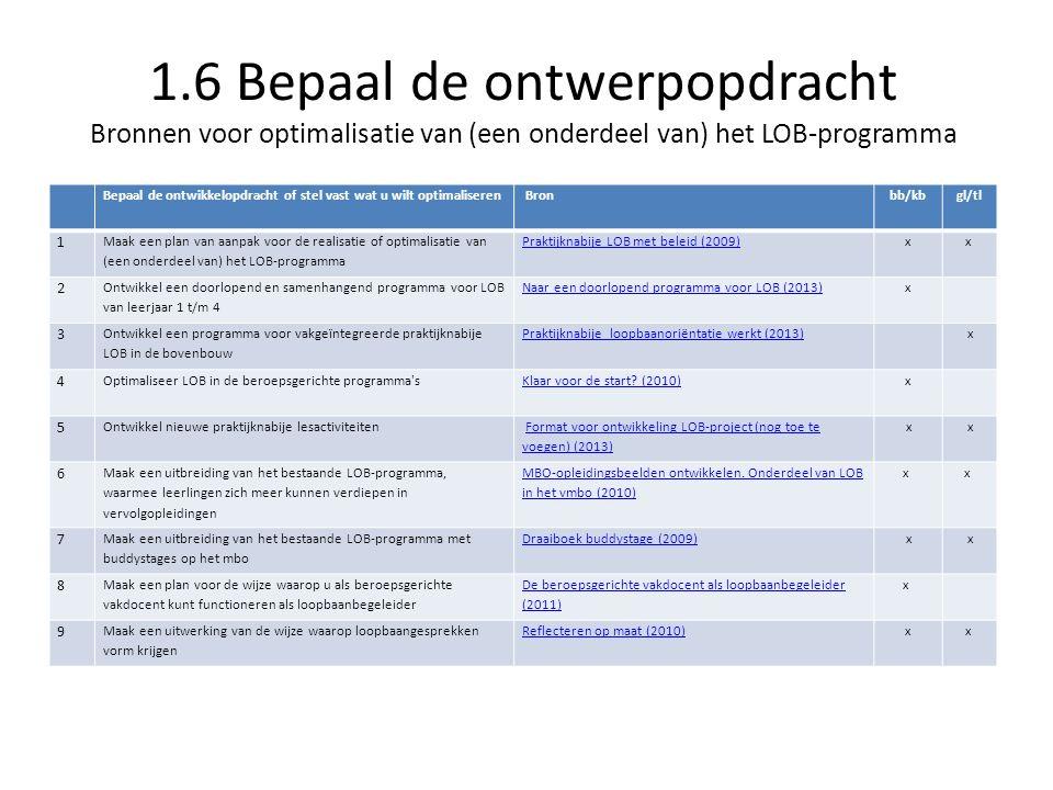 1.6 Bepaal de ontwerpopdracht Bronnen voor optimalisatie van (een onderdeel van) het LOB-programma Bepaal de ontwikkelopdracht of stel vast wat u wilt optimaliseren Bronbb/kbgl/tl 1 Maak een plan van aanpak voor de realisatie of optimalisatie van (een onderdeel van) het LOB-programma Praktijknabije LOB met beleid (2009)xx 2 Ontwikkel een doorlopend en samenhangend programma voor LOB van leerjaar 1 t/m 4 Naar een doorlopend programma voor LOB (2013)x 3 Ontwikkel een programma voor vakgeïntegreerde praktijknabije LOB in de bovenbouw Praktijknabije loopbaanoriëntatie werkt (2013) x 4 Optimaliseer LOB in de beroepsgerichte programma sKlaar voor de start.