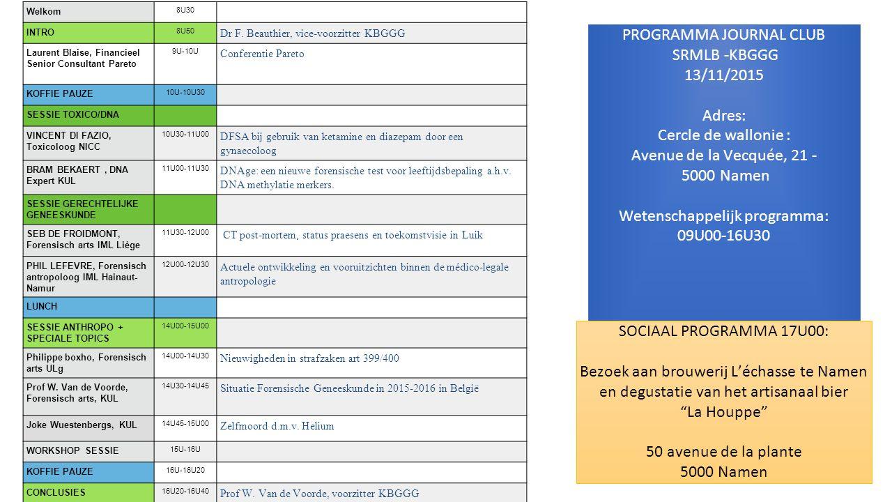 Inschrijvingsfiche Dhr/Mevr…… Titel: Adres: Mail: Tel: GSM: KBGGG lid: ja / neen 3 Zal deelnemen aan het wetenschappelijk programma van 13/11/2015 – Journal Club SRMLB/KBGGG te Namen, Cerle de Wallonie Zal deelnemen aan het sociaal programma – bezoek brouwerij L'échasse te Namen om 17U00 Voor het wetenschappelijk programma worden alle kosten gedragen door onze sponsor Pareto (fiscaal expert).
