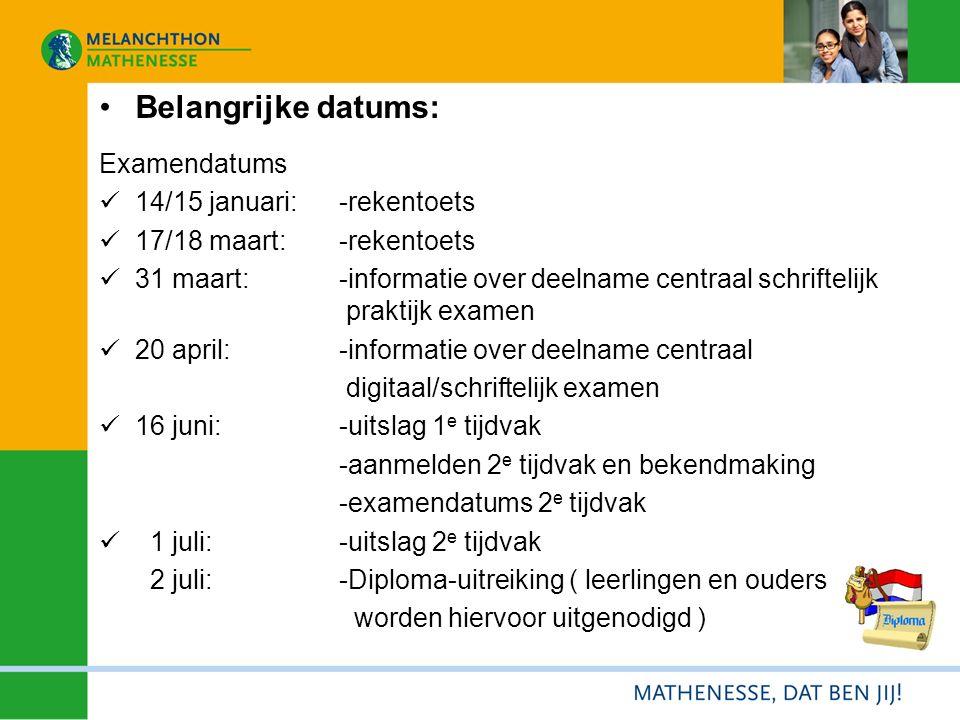 Belangrijke datums: Examendatums 14/15 januari:-rekentoets 17/18 maart:-rekentoets 31 maart: -informatie over deelname centraal schriftelijk praktijk