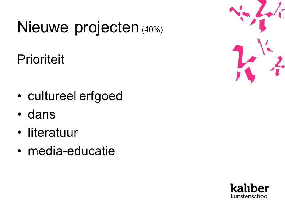 Nieuwe projecten (40%) Prioriteit cultureel erfgoed dans literatuur media-educatie