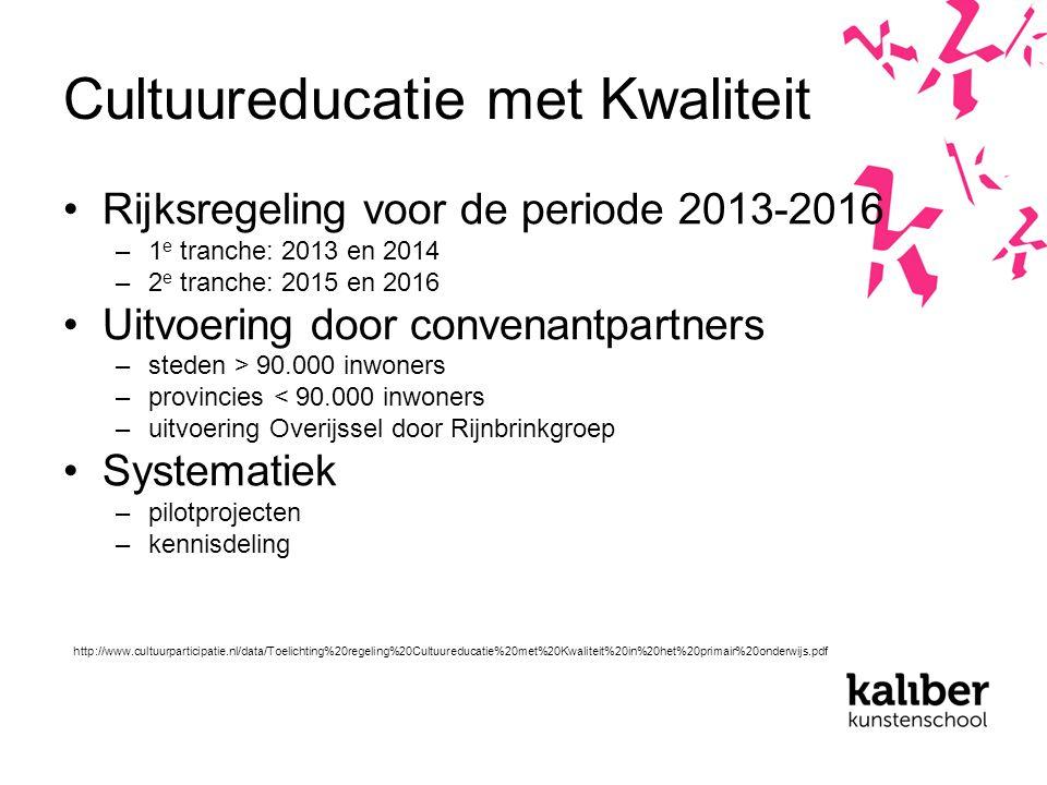 Cultuureducatie met Kwaliteit Rijksregeling voor de periode 2013-2016 –1 e tranche: 2013 en 2014 –2 e tranche: 2015 en 2016 Uitvoering door convenantpartners –steden > 90.000 inwoners –provincies < 90.000 inwoners –uitvoering Overijssel door Rijnbrinkgroep Systematiek –pilotprojecten –kennisdeling http://www.cultuurparticipatie.nl/data/Toelichting%20regeling%20Cultuureducatie%20met%20Kwaliteit%20in%20het%20primair%20onderwijs.pdf