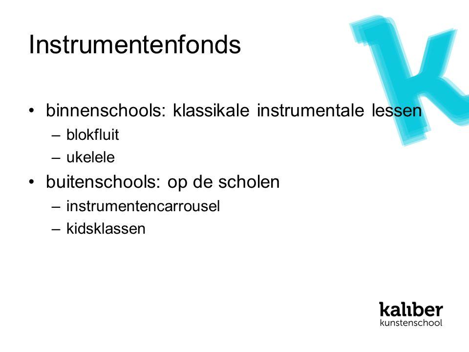 Instrumentenfonds binnenschools: klassikale instrumentale lessen –blokfluit –ukelele buitenschools: op de scholen –instrumentencarrousel –kidsklassen
