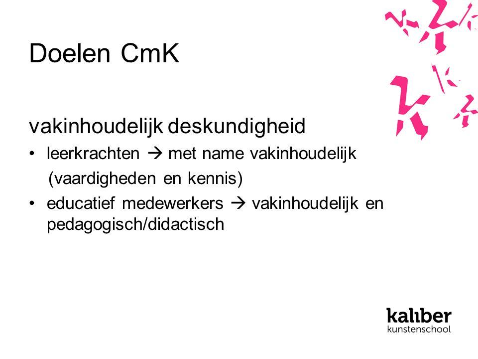 Doelen CmK vakinhoudelijk deskundigheid leerkrachten  met name vakinhoudelijk (vaardigheden en kennis) educatief medewerkers  vakinhoudelijk en pedagogisch/didactisch