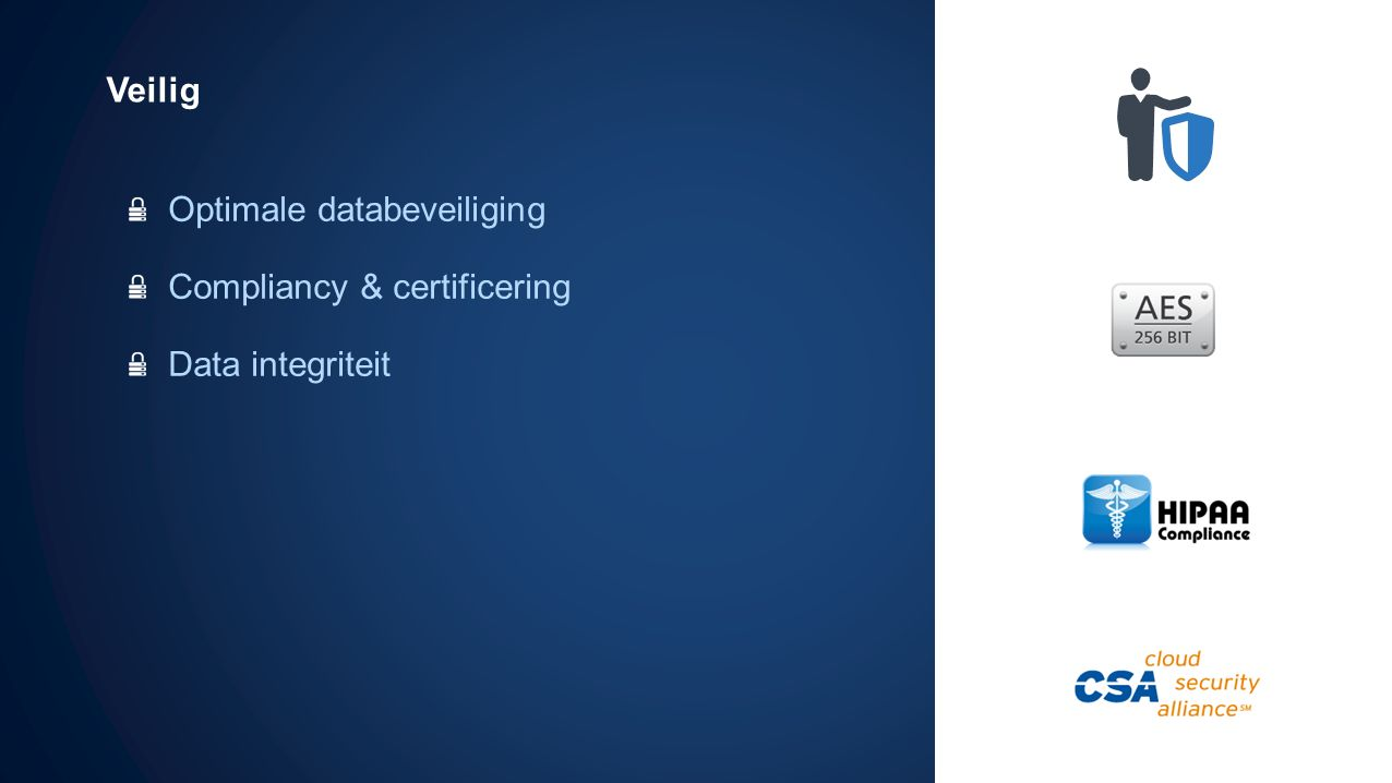 Veilig Optimale databeveiliging Compliancy & certificering Data integriteit