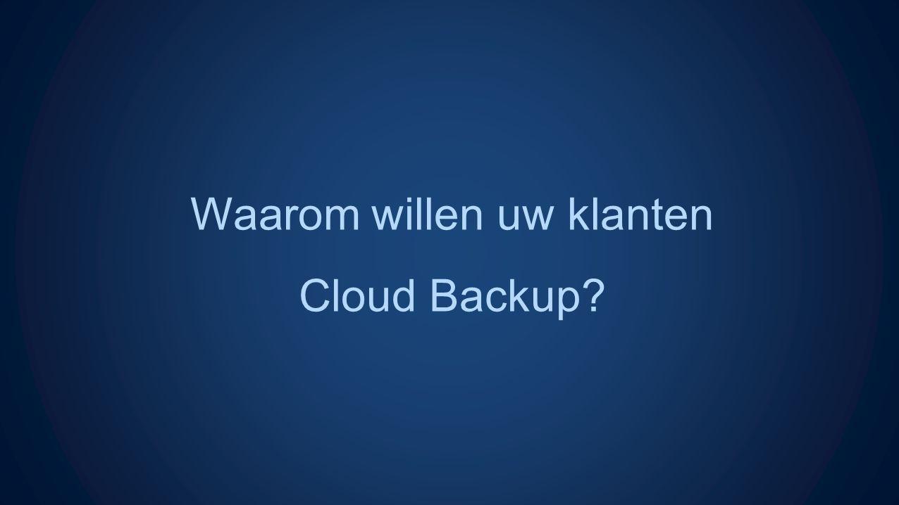 Waarom willen uw klanten Cloud Backup
