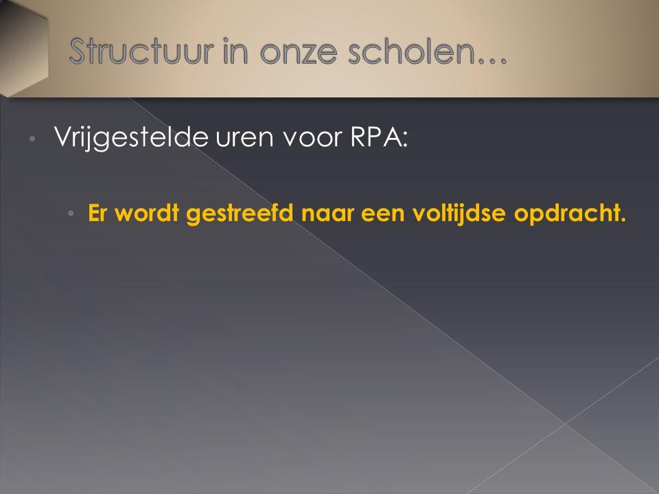 Vrijgestelde uren voor RPA: Er wordt gestreefd naar een voltijdse opdracht.