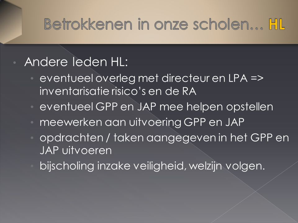 Andere leden HL: eventueel overleg met directeur en LPA => inventarisatie risico's en de RA eventueel GPP en JAP mee helpen opstellen meewerken aan uitvoering GPP en JAP opdrachten / taken aangegeven in het GPP en JAP uitvoeren bijscholing inzake veiligheid, welzijn volgen.