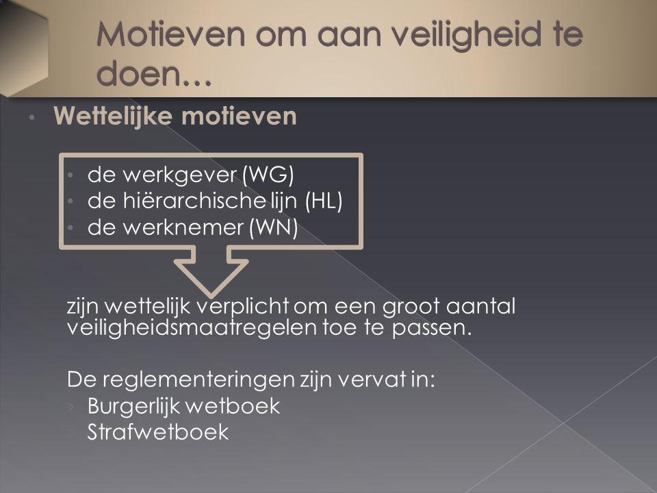 Wettelijke motieven de werkgever (WG) de hiërarchische lijn (HL) de werknemer (WN) zijn wettelijk verplicht om een groot aantal veiligheidsmaatregelen