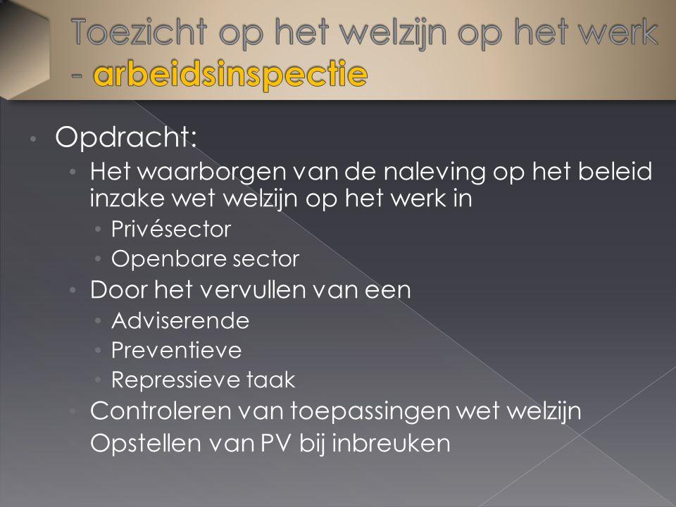 Opdracht: Het waarborgen van de naleving op het beleid inzake wet welzijn op het werk in Privésector Openbare sector Door het vervullen van een Advise