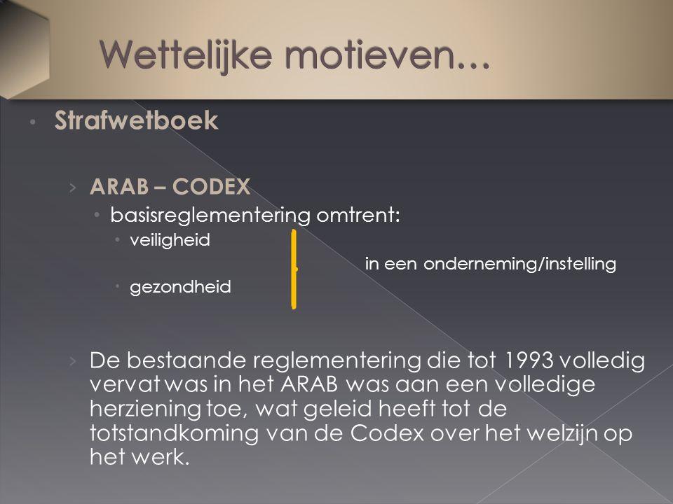 Strafwetboek › ARAB – CODEX basisreglementering omtrent: veiligheid in een onderneming/instelling  gezondheid › De bestaande reglementering die tot 1993 volledig vervat was in het ARAB was aan een volledige herziening toe, wat geleid heeft tot de totstandkoming van de Codex over het welzijn op het werk.