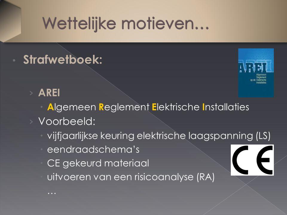 Strafwetboek: › AREI  A lgemeen R eglement E lektrische I nstallaties › Voorbeeld:  vijfjaarlijkse keuring elektrische laagspanning (LS)  eendraads