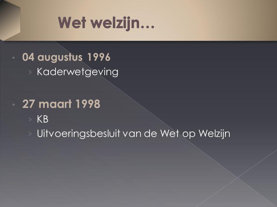 04 augustus 1996 › Kaderwetgeving 27 maart 1998 › KB › Uitvoeringsbesluit van de Wet op Welzijn