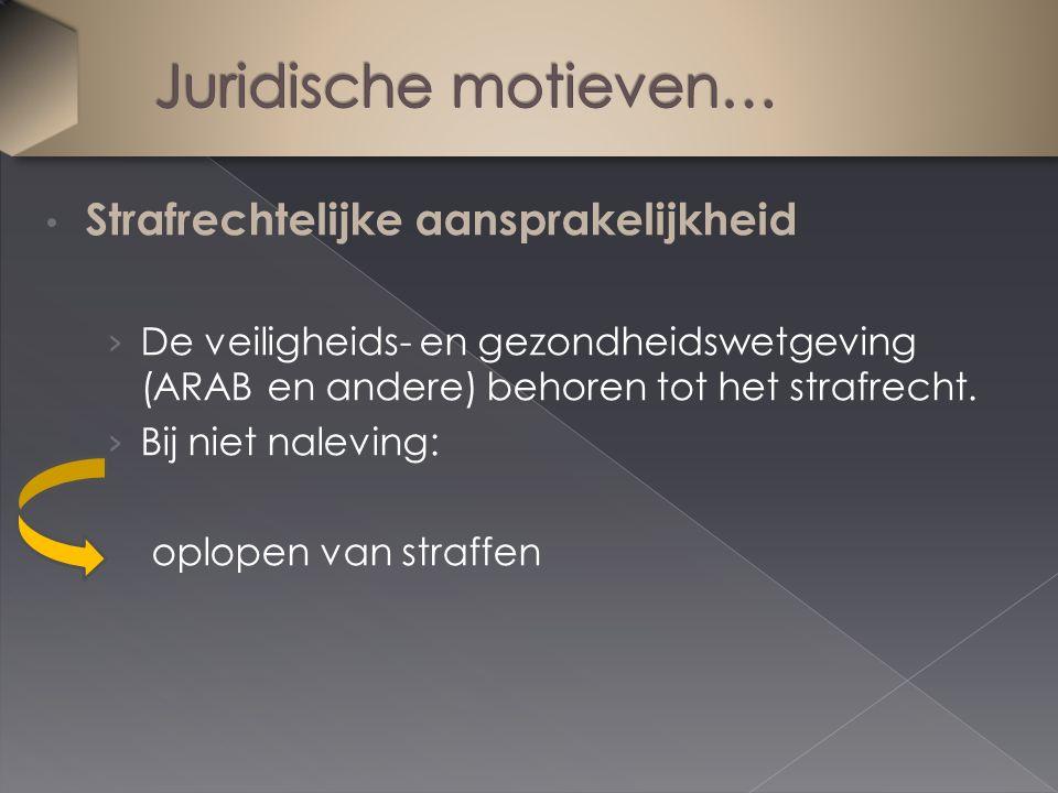 Strafrechtelijke aansprakelijkheid › De veiligheids- en gezondheidswetgeving (ARAB en andere) behoren tot het strafrecht. › Bij niet naleving: oplopen