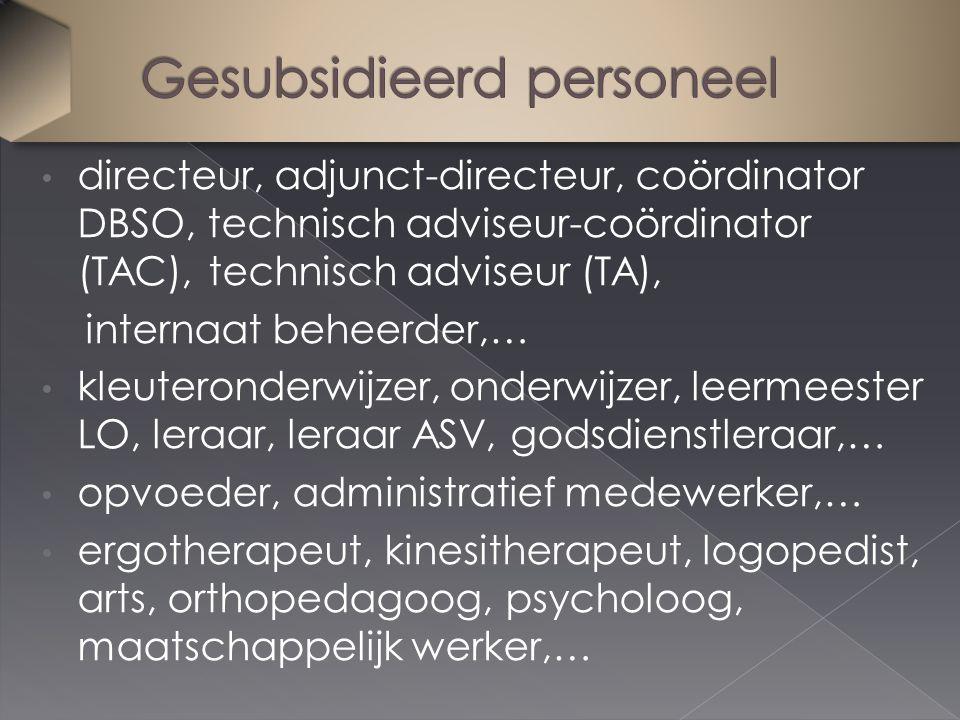 directeur, adjunct-directeur, coördinator DBSO, technisch adviseur-coördinator (TAC), technisch adviseur (TA), internaat beheerder,… kleuteronderwijze