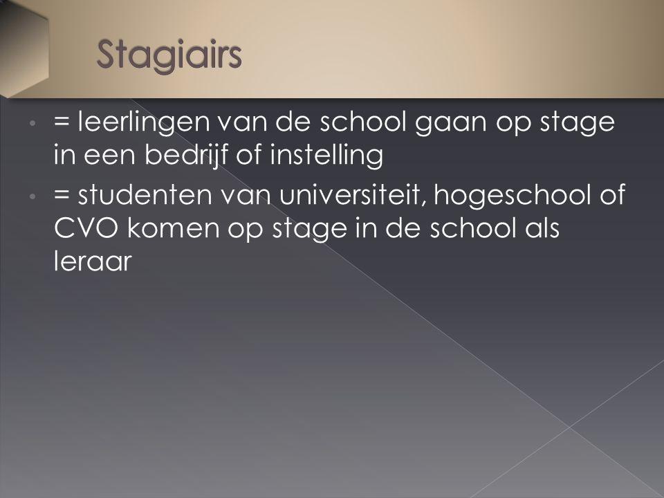 = leerlingen van de school gaan op stage in een bedrijf of instelling = studenten van universiteit, hogeschool of CVO komen op stage in de school als leraar