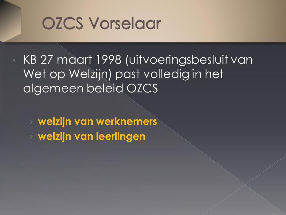 KB 27 maart 1998 (uitvoeringsbesluit van Wet op Welzijn) past volledig in het algemeen beleid OZCS › welzijn van werknemers › welzijn van leerlingen