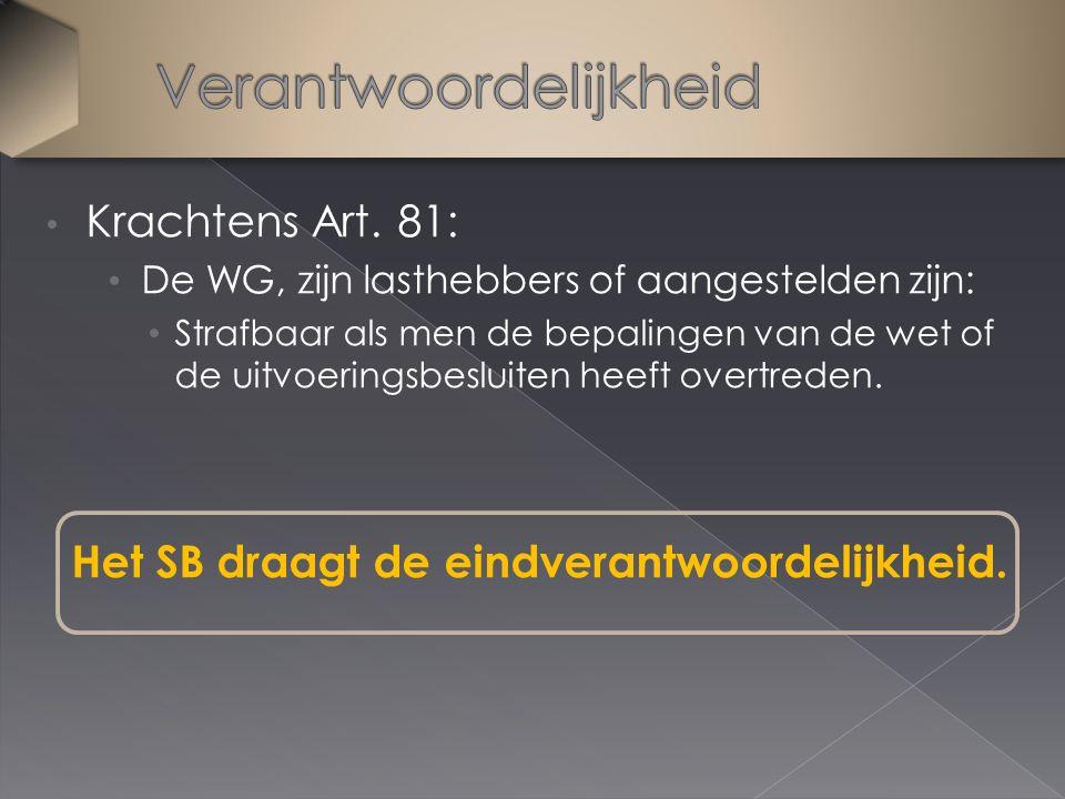 Krachtens Art. 81: De WG, zijn lasthebbers of aangestelden zijn: Strafbaar als men de bepalingen van de wet of de uitvoeringsbesluiten heeft overtrede