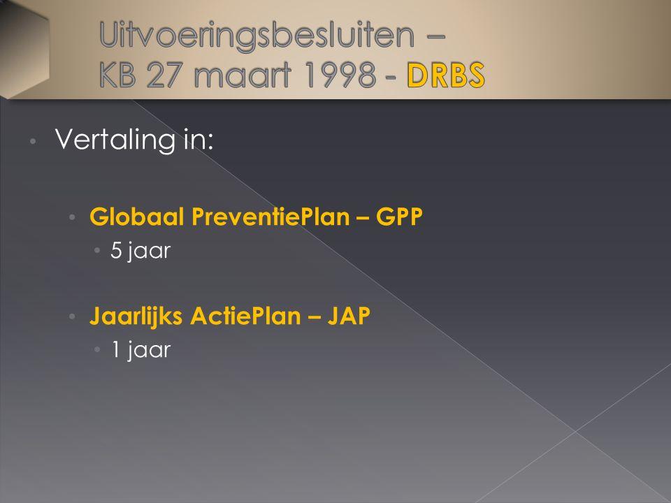 Vertaling in: Globaal PreventiePlan – GPP 5 jaar Jaarlijks ActiePlan – JAP 1 jaar