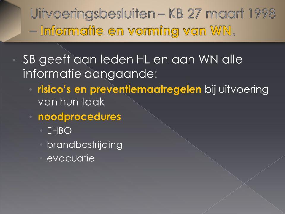 SB geeft aan leden HL en aan WN alle informatie aangaande: risico's en preventiemaatregelen bij uitvoering van hun taak noodprocedures EHBO brandbestrijding evacuatie