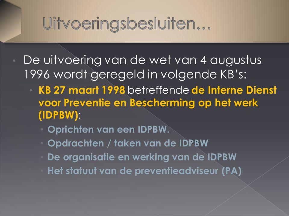 De uitvoering van de wet van 4 augustus 1996 wordt geregeld in volgende KB's: KB 27 maart 1998 betreffende de Interne Dienst voor Preventie en Bescherming op het werk (IDPBW) : Oprichten van een IDPBW.