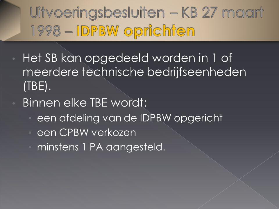 Het SB kan opgedeeld worden in 1 of meerdere technische bedrijfseenheden (TBE). Binnen elke TBE wordt: een afdeling van de IDPBW opgericht een CPBW ve