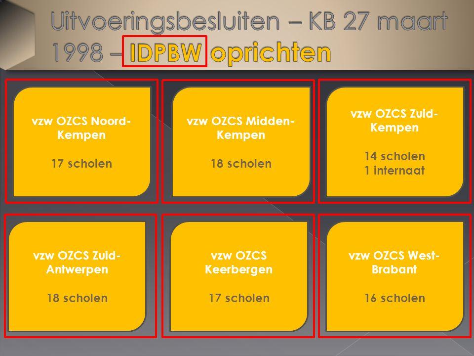 vzw OZCS Noord- Kempen 17 scholen vzw OZCS West- Brabant 16 scholen vzw OZCS Keerbergen 17 scholen vzw OZCS Zuid- Antwerpen 18 scholen vzw OZCS Midden