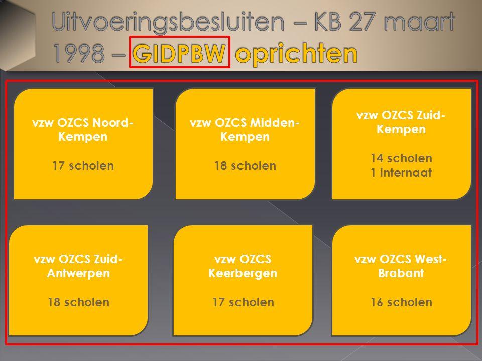 vzw OZCS Noord- Kempen 17 scholen vzw OZCS West- Brabant 16 scholen vzw OZCS Keerbergen 17 scholen vzw OZCS Zuid- Antwerpen 18 scholen vzw OZCS Midden- Kempen 18 scholen vzw OZCS Zuid- Kempen 14 scholen 1 internaat
