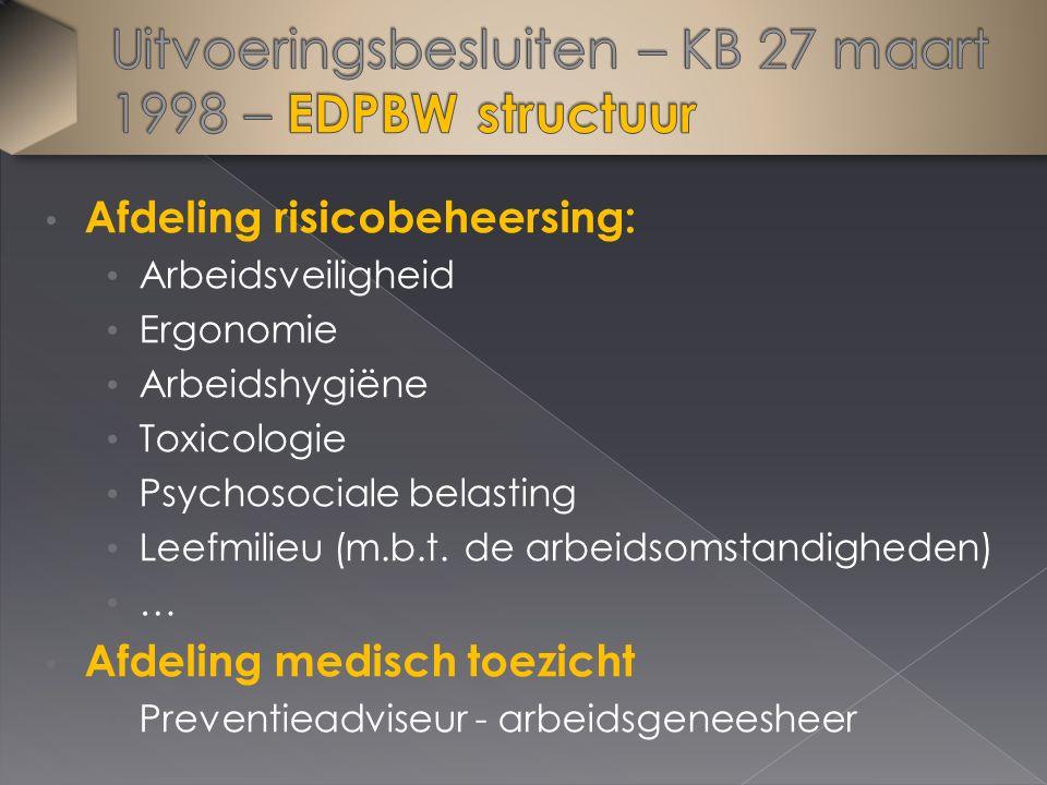 Afdeling risicobeheersing: Arbeidsveiligheid Ergonomie Arbeidshygiëne Toxicologie Psychosociale belasting Leefmilieu (m.b.t. de arbeidsomstandigheden)