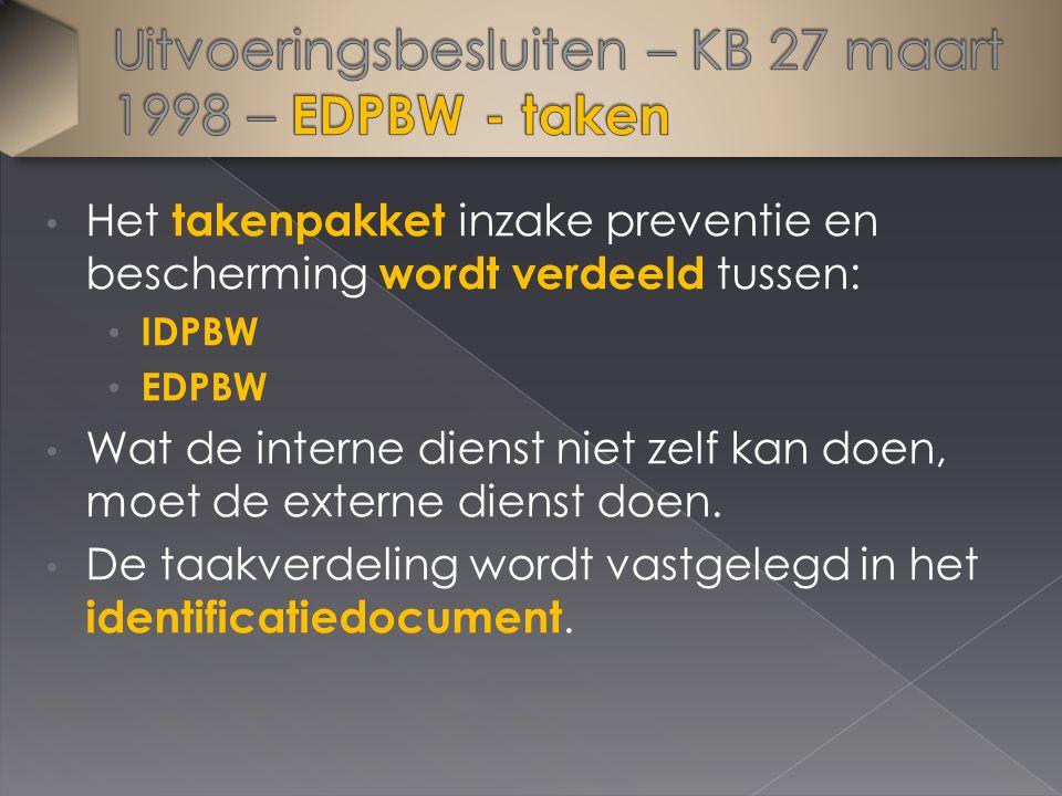 Het takenpakket inzake preventie en bescherming wordt verdeeld tussen: IDPBW EDPBW Wat de interne dienst niet zelf kan doen, moet de externe dienst doen.