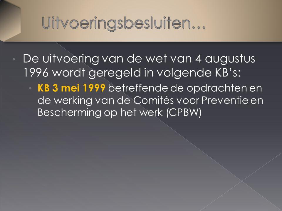 De uitvoering van de wet van 4 augustus 1996 wordt geregeld in volgende KB's: KB 3 mei 1999 betreffende de opdrachten en de werking van de Comités voo