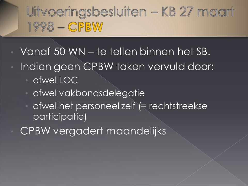 Vanaf 50 WN – te tellen binnen het SB. Indien geen CPBW taken vervuld door: ofwel LOC ofwel vakbondsdelegatie ofwel het personeel zelf (= rechtstreeks