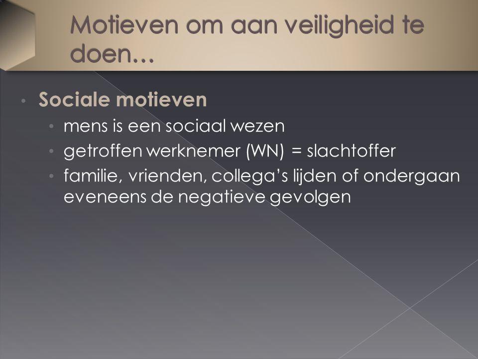 Sociale motieven mens is een sociaal wezen getroffen werknemer (WN) = slachtoffer familie, vrienden, collega's lijden of ondergaan eveneens de negatieve gevolgen