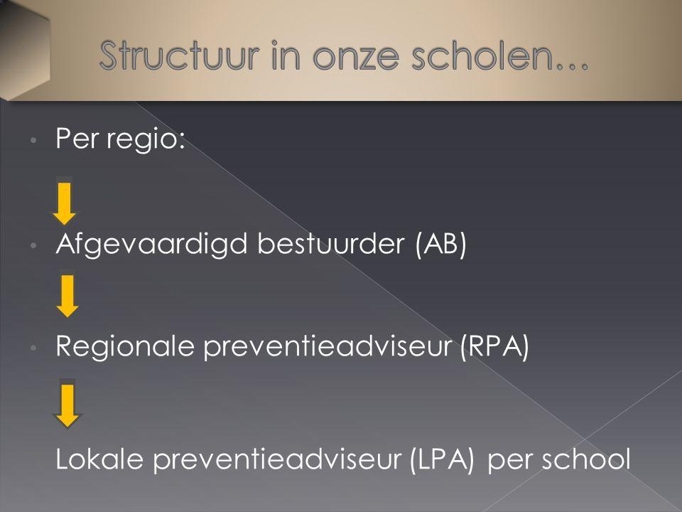 Per regio: Afgevaardigd bestuurder (AB) Regionale preventieadviseur (RPA) Lokale preventieadviseur (LPA) per school