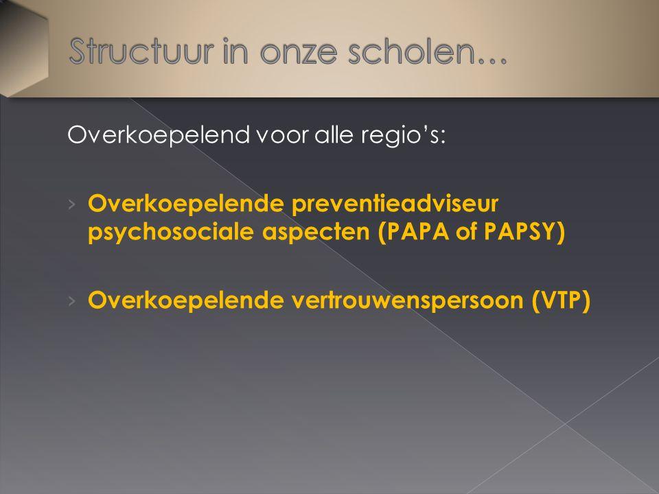 Overkoepelend voor alle regio's: › Overkoepelende preventieadviseur psychosociale aspecten (PAPA of PAPSY) › Overkoepelende vertrouwenspersoon (VTP)