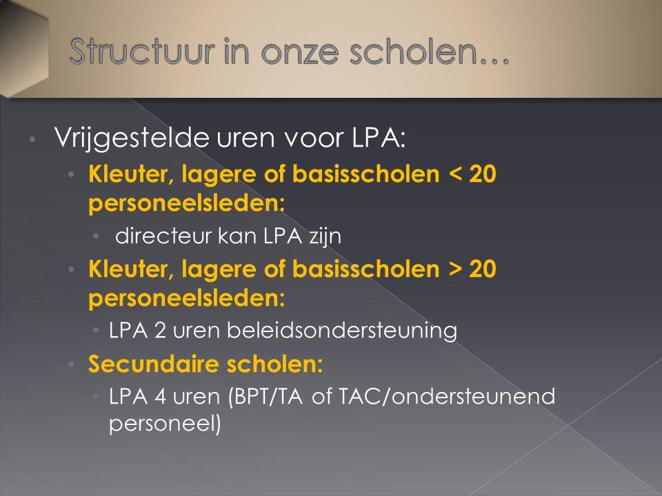 Vrijgestelde uren voor LPA: Kleuter, lagere of basisscholen < 20 personeelsleden: directeur kan LPA zijn Kleuter, lagere of basisscholen > 20 personeelsleden: LPA 2 uren beleidsondersteuning Secundaire scholen: LPA 4 uren (BPT/TA of TAC/ondersteunend personeel)