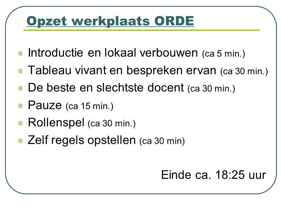 Opzet werkplaats ORDE Introductie en lokaal verbouwen (ca 5 min.) Tableau vivant en bespreken ervan (ca 30 min.) De beste en slechtste docent (ca 30 m
