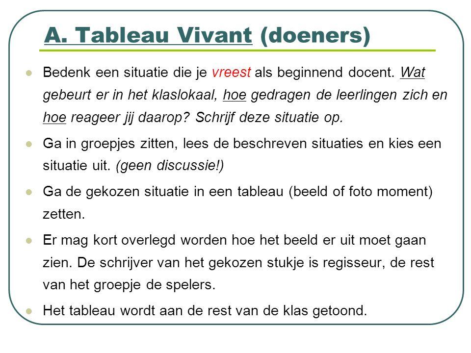 A. Tableau Vivant (doeners) Bedenk een situatie die je vreest als beginnend docent. Wat gebeurt er in het klaslokaal, hoe gedragen de leerlingen zich