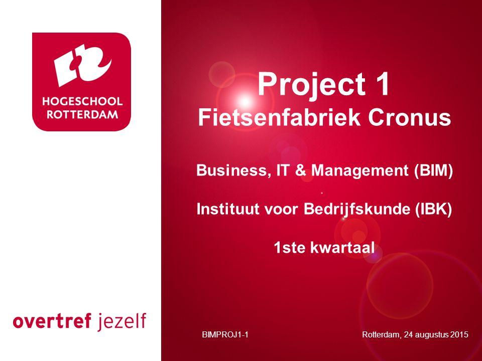 Presentatie titel Rotterdam, 00 januari 2007 Project 1 Fietsenfabriek Cronus Business, IT & Management (BIM) Instituut voor Bedrijfskunde (IBK) 1ste kwartaal BIMPROJ1-1 Rotterdam, 24 augustus 2015