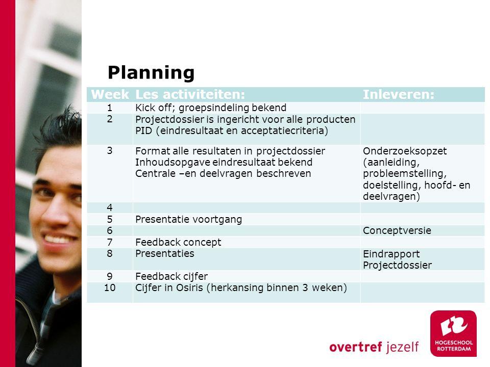 Beoordeling Adviesrapport (50%)Projectdossier (50%) BedrijfskundePID -Wet- & regelgeving -Omgeving -Concurrentie -Marketing -Typologie -Logistiek -Financieel management -Organisatie structuren -MVO -Dienstverlening Vergaderdocumenten -Agenda -Notulen -Behandelde stukken InformatiekundeEvaluatie en reflectie -Trends en ontwikkelingen -Hardware toepassingen -Informatiesystemen & ontwikkeling -Informatieopslag & toegang -Groepsreflectie -Evaluatie andere deelnemers -Zelfreflectie Adviesrapport Planning en urenverantwoording