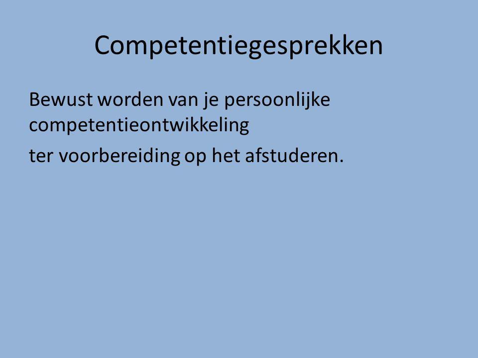Competentiegesprekken Bewust worden van je persoonlijke competentieontwikkeling ter voorbereiding op het afstuderen.