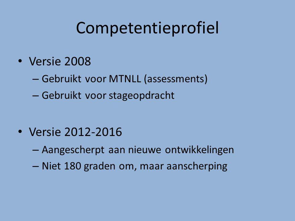 Competentieprofiel Versie 2008 – Gebruikt voor MTNLL (assessments) – Gebruikt voor stageopdracht Versie 2012-2016 – Aangescherpt aan nieuwe ontwikkelingen – Niet 180 graden om, maar aanscherping