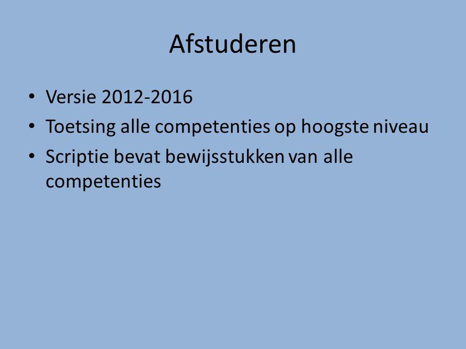 Afstuderen Versie 2012-2016 Toetsing alle competenties op hoogste niveau Scriptie bevat bewijsstukken van alle competenties