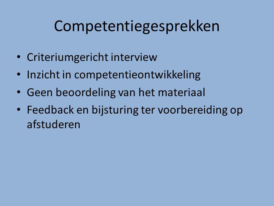 Competentiegesprekken Criteriumgericht interview Inzicht in competentieontwikkeling Geen beoordeling van het materiaal Feedback en bijsturing ter voorbereiding op afstuderen